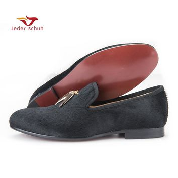 Jeder new style horsehair men shoes with metal Shark tooth shape tassel British style smoking slipper party and prom men loafers