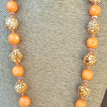 Vintage Orange Bead Necklace Signed Japan Spring Easter