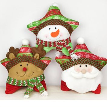 Super Cute Christmas Santa Claus Snow Man  Dolls Cushion Pillow