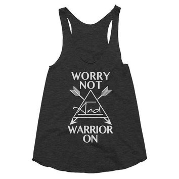 Worry Not and Warrior On, Boho, gypsy, hippie, hippy, festival, music racerback tank, Yoga Shirt, Gym Shirt, Muscle, Gym Tank, Yoga Top