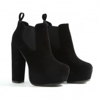 Missguided - Celestina Suede Platform Ankle Boots In Black