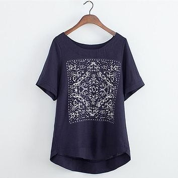 Summer Style Casual Linen Cotton Short Sleeve Shirt Women Vintage Ethnic Print Loose Tops Tee Shirt Ladies Plus Size ZY2915