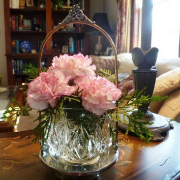Avon Crystal Glow Candle Holder Vase Cut Glass with Silver and Gold Shabby Victorian Metal Stand