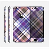 The Gray & Purple Plaid Layered Pattern V5 Skin for the Apple iPhone 6