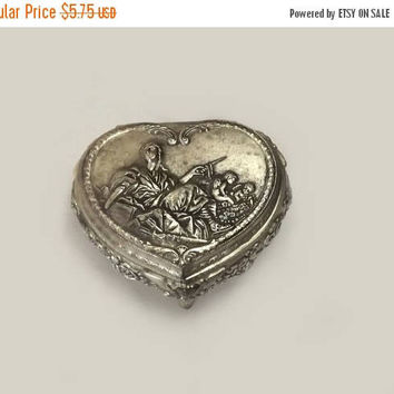 Heart Shape Trinket Box, Vintage Embossed Silver Plate, Lady with Cherubs & Roses, Velvet Lined Jewelry Holder, Boudoir Vanity Decor
