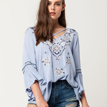 BLU PEPPER Embroidered Bell Sleeve Womens Top | Blouses