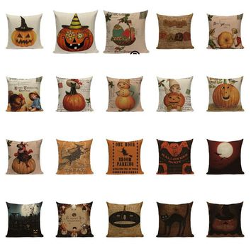 Halloween Decorative Halloween Skull Masquerade Cushion Cover Pillows Pumpkin Kids cat Witch Beauty Sofa Throw Pillow Cover Y430