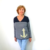 SALE Vintage  Sweater Nautical Anchor Striped Navy Blue and White V-neck Warm Cotton Knit Woman M/L