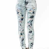 High-Waisted-Acid-Wash-Jeans LTBLUE - GoJane.com