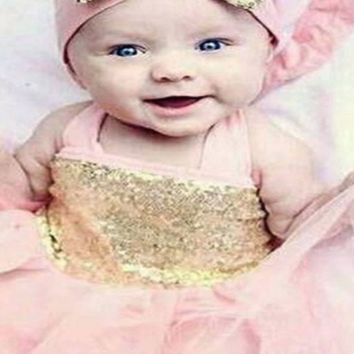 Sheer with Sequins Newborn Baby Dress With Headband  Photography Prop CC108 (multiple Colors)