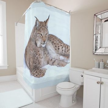 bobcat on snow shower curtain