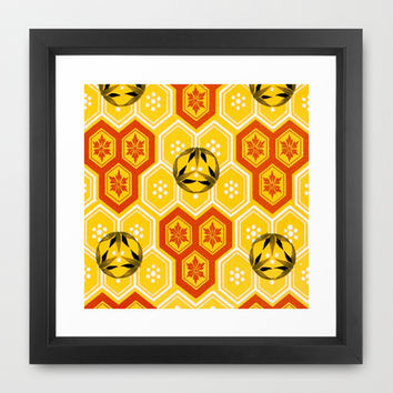 Vintage Asian Geometric Bee Hive Pattern Design Framed Art Print by Iconographique