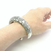 Tribal Cuff Bracelet. Hand Stamped Geometric Sterling Silver 965. Artisan Engraved, Tuareg Style. Vintage Ethnic Statement Jewelry. 35.9g