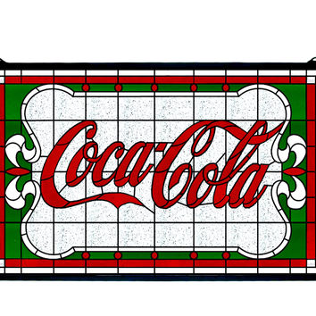 27 Inch W X 16 Inch H Coca-cola Nouveau Stained Glass Window