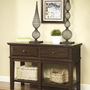 T845-4 Gately Console Sofa Table Medium Brown Free Shipping!