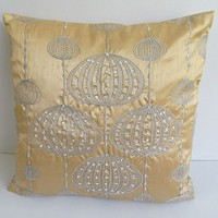 gold pillow and cushion cover with silver lantern embroidery & stone work