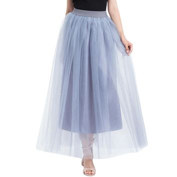 Spring Skirt Of Women Plus Size Mesh Tulle Pleated Princess Mesh Bubble Long Skirt For Ladies Fashion Women Skirt