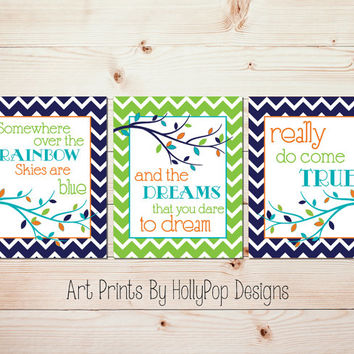 Somewhere Over the Rainbow Modern Nursery Trio Art Prints Set of 3 Prints Aqua Lime Orange Nursery Baby Boy nursery Kids Wall Decor #0689