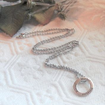 Sterling Silver Mother Daughter Friend Open Circle 18 Inch Necklace