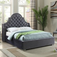 Madison Grey Velvet Queen Bed