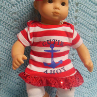 "AMERICAN girl Bitty Baby Clothes ""Another Cutie Ahoy!"" (15 inch) doll outfit  dress shorts socks, headband nautical 4th of July patriotic"