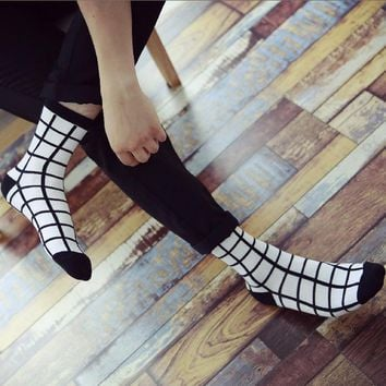 men's socks Autumn and winter with black and white classic Houndstooth Plaid socks stripe cotton socks Shutiao luxury brand
