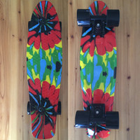 "CHI YUAN Mini Cruiser Board Plastic Skateboard Graphic Printed 22"" X 6"" Retro Longboard Skate Long Board Tie Dye"