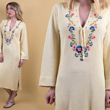 vintage cream knit embroidered maxi dress jumper bohemian floral boho kaftan tunic sweater plunging off white hippie 90s M L