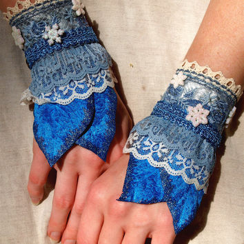 Pair Blue Fantasy Wrist Cuff Bracelets - elf fairy fae bracers ice blue and snow flakes frozen