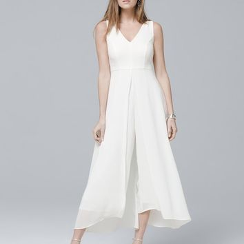 White House Black Market Sleeveless Overlay Jumpsuit