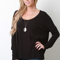 Rib Knit High-Low Long Sleeve Top
