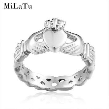 MiLaTu Irish Claddagh Rings For Women Hand Love Heart Crown Wedding Ring Best Friends Rings US Size 5 to 10 R186G