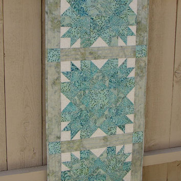 Beachy Batik Quilted Wall Hanging or Table Runner Turquoise Teal and Aqua