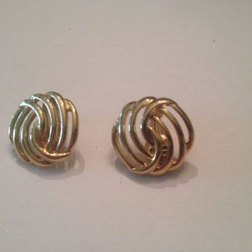 Vintage Monet Gold Swirl Earrings Costume Jewelry
