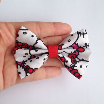 Red Pink and White Hello Kitty Fabric Hair Bow - 3.5 Inch Wide