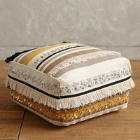 Fringed Glimmer Pouf by Anthropologie in Black & White Size: One Size House & Home