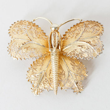 Vintage 30s Brooch / 1930s Sterling Silver Gold Vermeil Filigree Cannetille Butterfly Pin