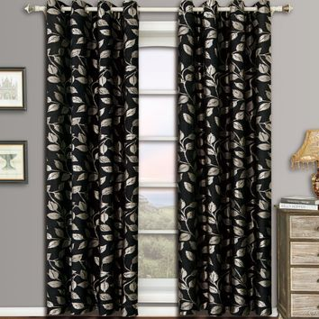 Black Charlotte Pair (Two Panels ) Jacquard Grommet Curtain Panels