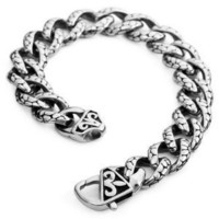 Mens Silver 316l Stainless Steel Vintage BIG Heavy Biker Bracelet Wrist Band ...: Jewelry: Amazon.com