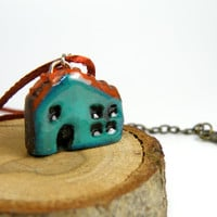 Teal Mini House Necklace, Teal Blue House Pendant, Handmade Necklace, Teal Green Miniature House Jewelry