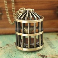 Vintage retro bird cage pocket watch necklace with by luckyvicky