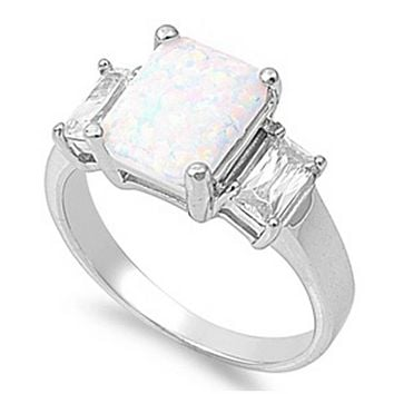 Cushion Cut White Lab Opal with Clear Cubic Zirconia Accent Stones in Sterling Silver Band