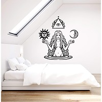 Vinyl Wall Decal Witch Witchcraft Woman Meditation Sun Moon Stickers Mural (ig5243)