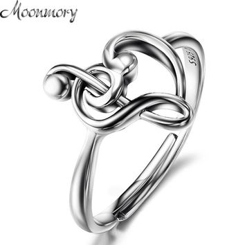 Moonmory 925 Sterling Silver Music Note Heart Adjustable Rings Treble Clef Jewelry Heart Charm Music Ring Gift For Women Female