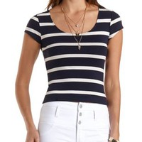 Striped Zip-Back Crop Top by Charlotte Russe