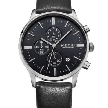 Megir Quartz Chrono (Black, Silver)