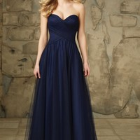 Morilee Bridesmaids 112 Strapless Floor Length Tulle Dress