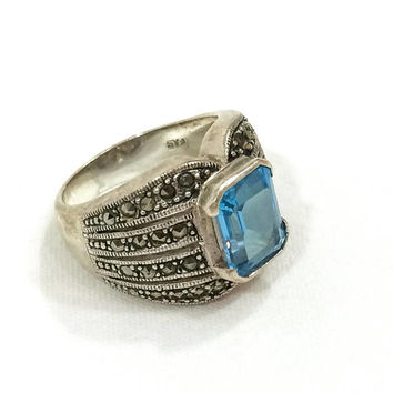 Sterling & Blue Topaz Ring, Chunky Sterling Ring, Marcasite, Trendy Ring, Gemstone Jewelry, November Birthstone, Size 6 3/4, Vintage Jewelry