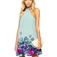 Light Blue Sleeveless High Neckline Tropical Floral Print Mini Dress