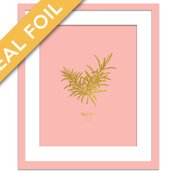 Sage Art Print - Gold Foil Print - Food Poster - Gold Foil Kitchen Wall Art - Food Art - Kitchen Art Print - Gift for Chef - Herb Art